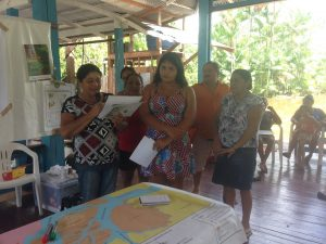 Women are discussing community development indicators for the Açai fruit production chain in Afuá, Pará State, Brazil