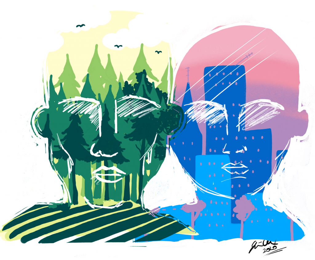 Graphic showing two drawn faces; one has a forest as a background, the other has a city as a background.